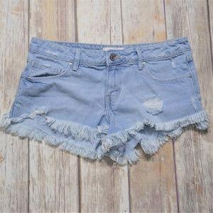 Forever 21 Raw Hem Light Wash Short Shorts Size 27